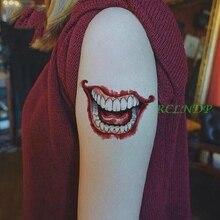 Waterproof Temporary Tattoo Sticker 3D Halloween mouth blade hand Suicide Squad Joker tatto stickers flash tatoo fake tattoos 7