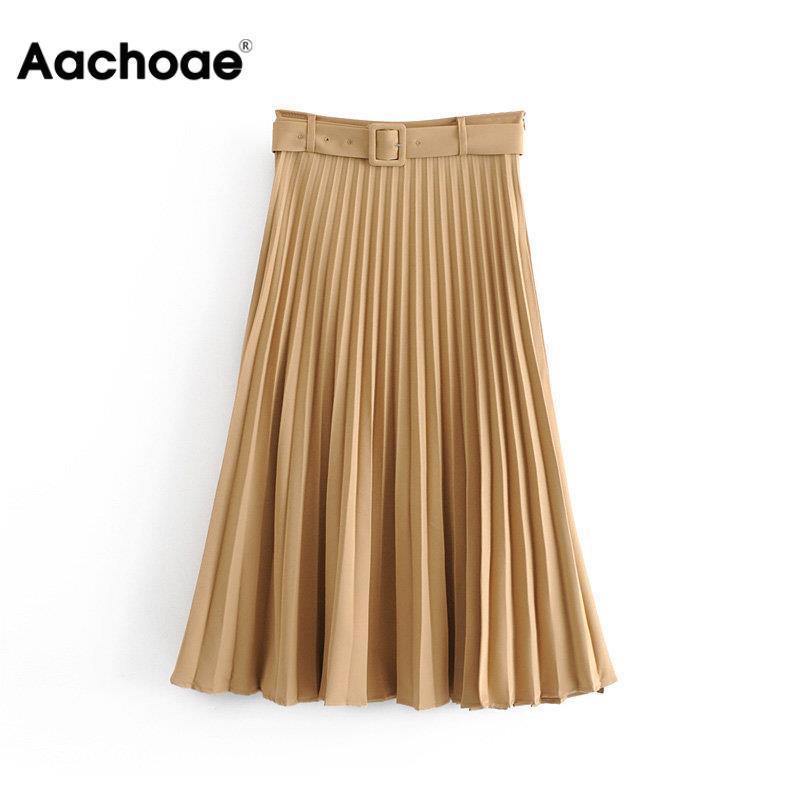Aachoae, plisado liso, falda holgada, fajas, faldas de media pierna para mujer, cintura alta, Vintage, primavera Otoño, Pure High Quality Jupe Femme