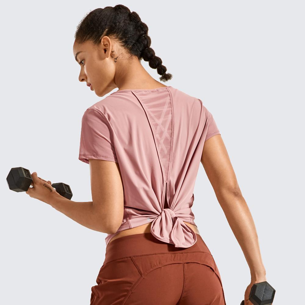 Camisetas de treino feminino manga curta malha dividida para trás atlético cute topos para yoga, ginásio