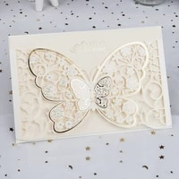 1pcs butterfly flora laser cut wedding invitation cards greeting card printing engagement wedding decoration party supplies