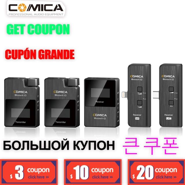 COMICA boomx-d MICRÓFONO INALÁMBRICO D1 D2 UC1 UC2 BoomX Clip-on Video micrófono para teléfono DSLR PK WM8 PRO Rode GO