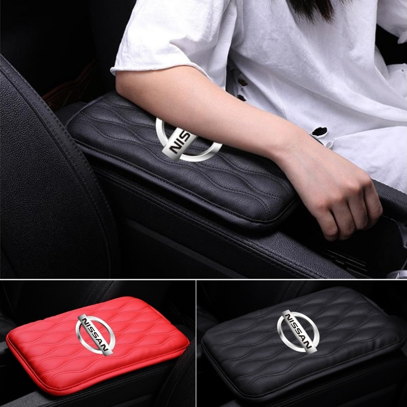 Auto Leder Zentrale Center Console Armlehne Box Pad Matte Schutz Abdeckungen Für Nissan Logo Juke Hinweis J10 J11 350-z 370z versa