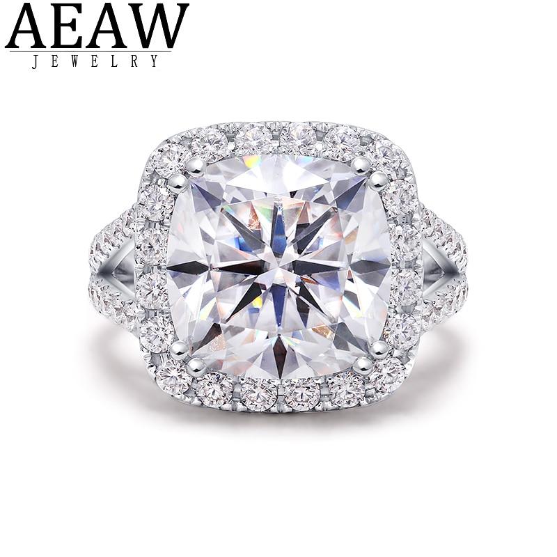 DF اللون الفاخرة 7ct 11x11 مللي متر أحجار بمقطع مشابه لشكل الوسائد مويسانيتي الماس خاتم الخطوبة خواتم الزفاف للنساء حفلة الصلبة 14K الذهب الأبيض