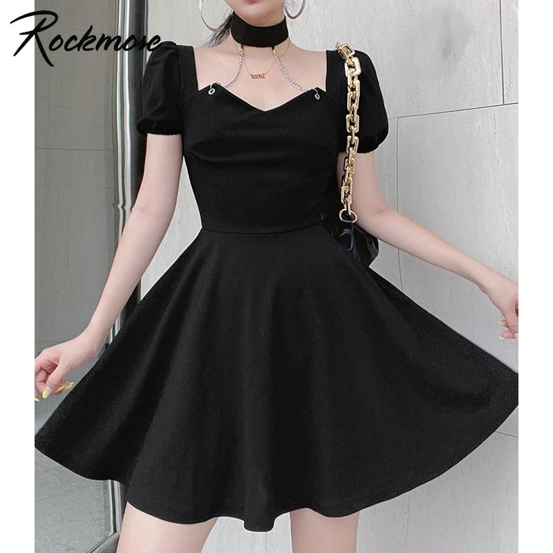 Rockmore Elegant Square Neck Black Dress Women Chain Halter Fashion Pleated Dress Mini Summer Dresses Evening Party Sundress y2k