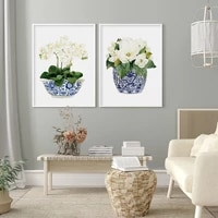 white flower ceramic flower pot canvas painting nordic wall art green leaf picture posters and prints for living room home decor