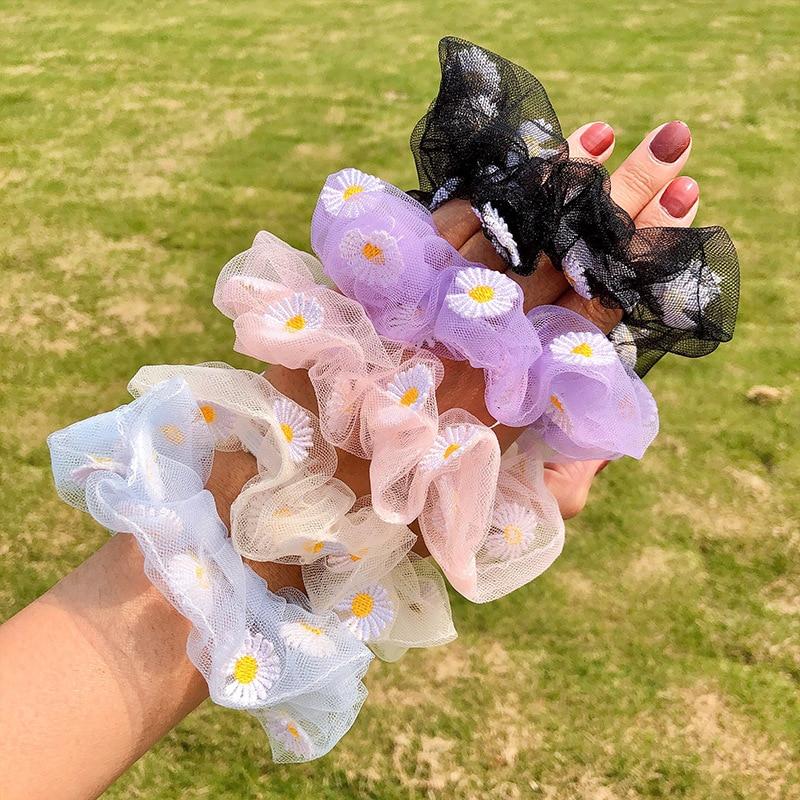 2020 Summer Mesh Chiffon Flower Scrunchie Women Girls Elastic Hair Rubber Bands Accessories Tie Hair Ring Rope Holder Headwear