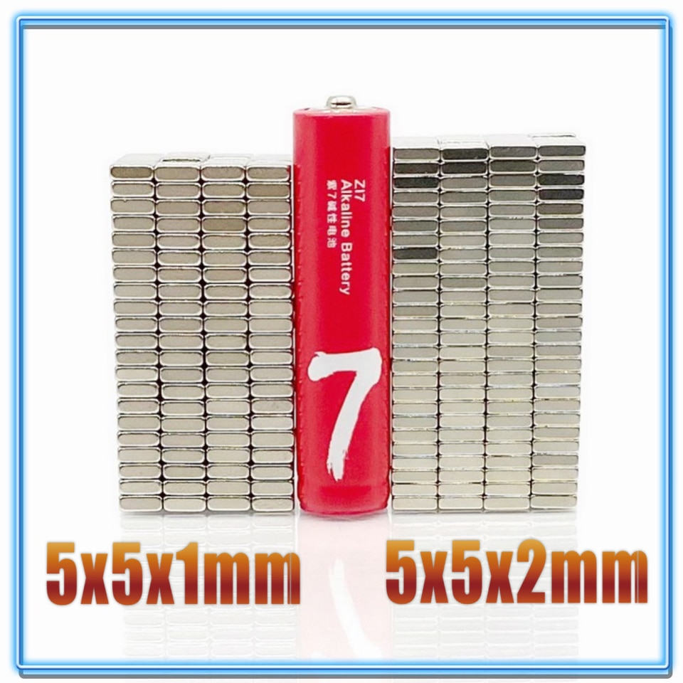 20-200pcs/lot magnet 5x5x1 5x5x2 N35 Strong Square NdFeB Rare Earth Magnet 5*5*1 5*5*2 Neodymium Magnets 5*5*1 5x5x1.5 200pcs lot 1w 5