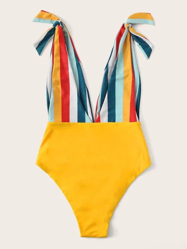 Traje de baño a rayas amarillo deportivo cuello pico profundo lazo alto espera Bikini mujeres verano volantes Patchwork una pieza traje de baño Monokini