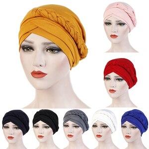 Stretch Cotton Turban caps for Women muslim turban scarf Headwear Head Scarf islamic inner Hijab Arab Head Wrap Hair Accessories