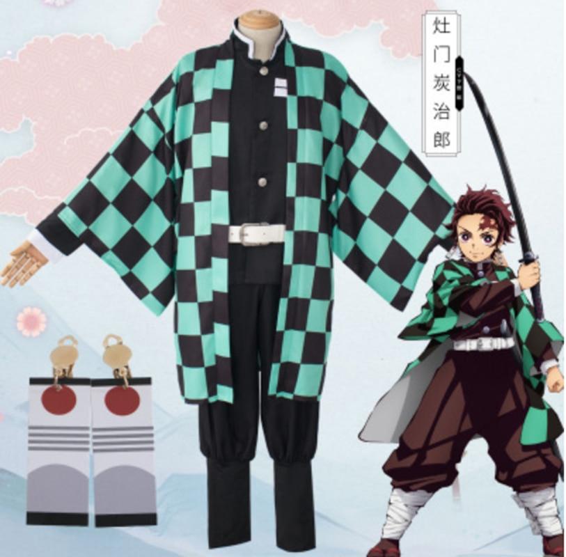 Anime demonio asesino Kimetsu no Yaiba Kamado Tanjirou fiesta de Halloween hombres Kimon Cosplay capa Top pantalones cinturón Bal
