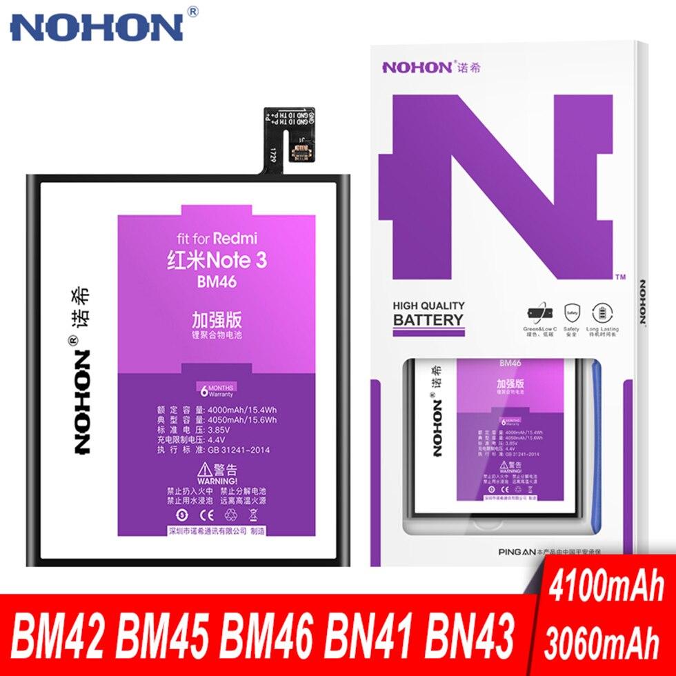 Аккумулятор NOHON BM45 BM46 BN41 BN43 для Xiaomi Redmi Note 2 3 Pro 4 X 4X Global Hongmi Note2 Note3 запасная батарея для телефона