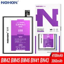 Аккумулятор NOHON BM45 BM46 BN41 BN43 для Xiaomi Redmi Note 2 3 Pro 4 X 4X Global Hongmi Note2 Note3, сменная батарея для телефона
