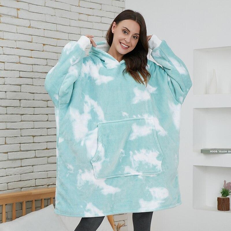 Толстовка Оверсайз с капюшоном, свитшот, женские зимние худи, одеяло с рукавом, флисовая толстовка, худи, теплый пуловер