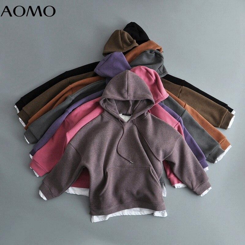 بلوزات نسائية بغطاء للرأس من الصوف من AOMO ملابس داخلية من lalambsالصوف للجيب الدافئ موضة شتاء 2020 بلوزات نسائية بغطاء للرأس مقاس كبير 7M1A
