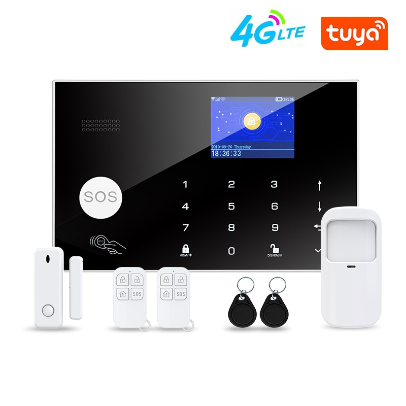 TUYA WIFI 4G Smart Home Security System Wireless Motion Detector Door Concact Working with Alexa 4G Alarm