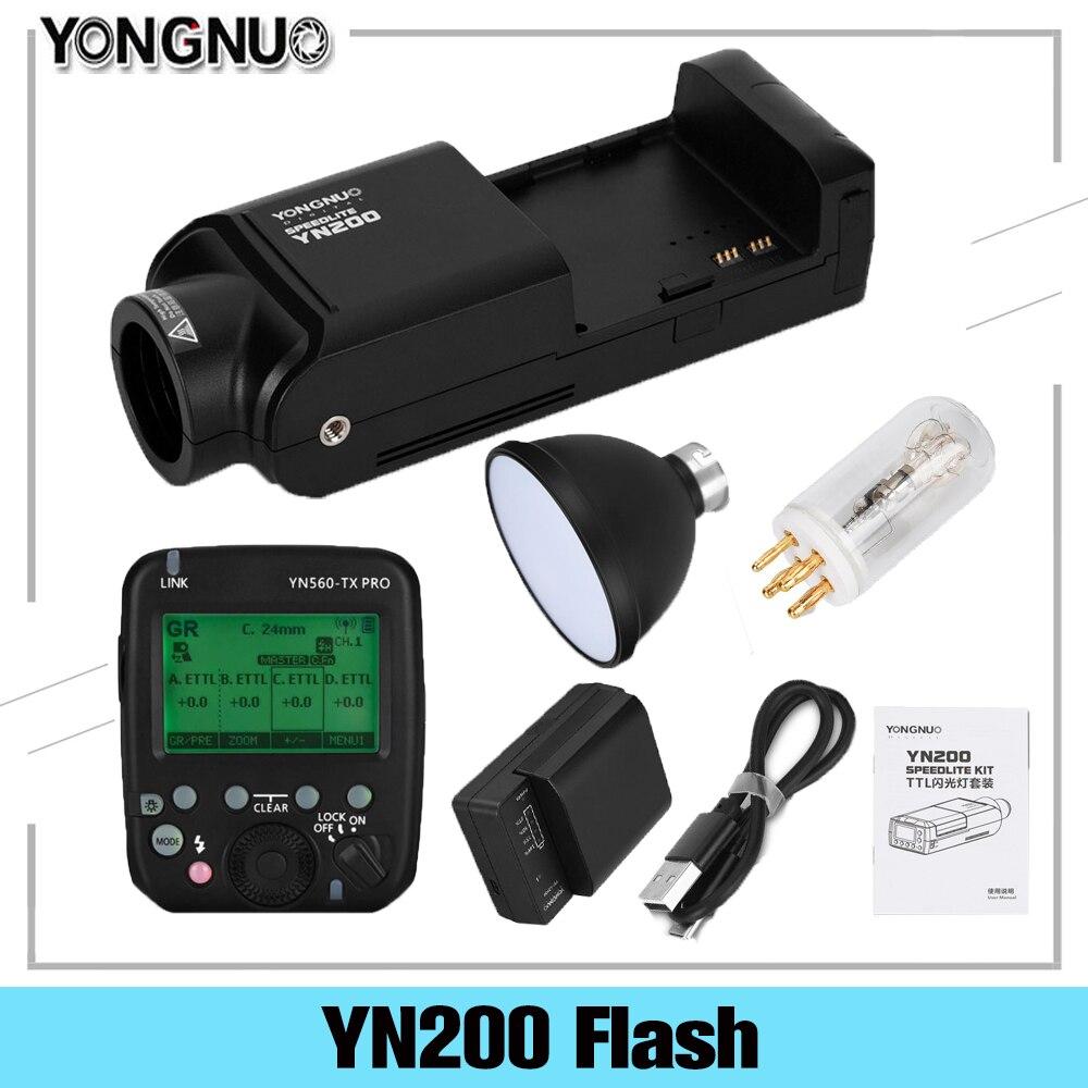 YONGNUO YN200 TTL HSS 2.4G 200W ليثيوم البطارية مع USB نوع C ، متوافق YN560-TX (II)/YN560-TX برو لكانون نيكون كاميرا