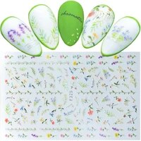 1pcs ultra thin nail decal and sticker flower leaf tree green simple summer slider for manicure nail art adhesive decorations