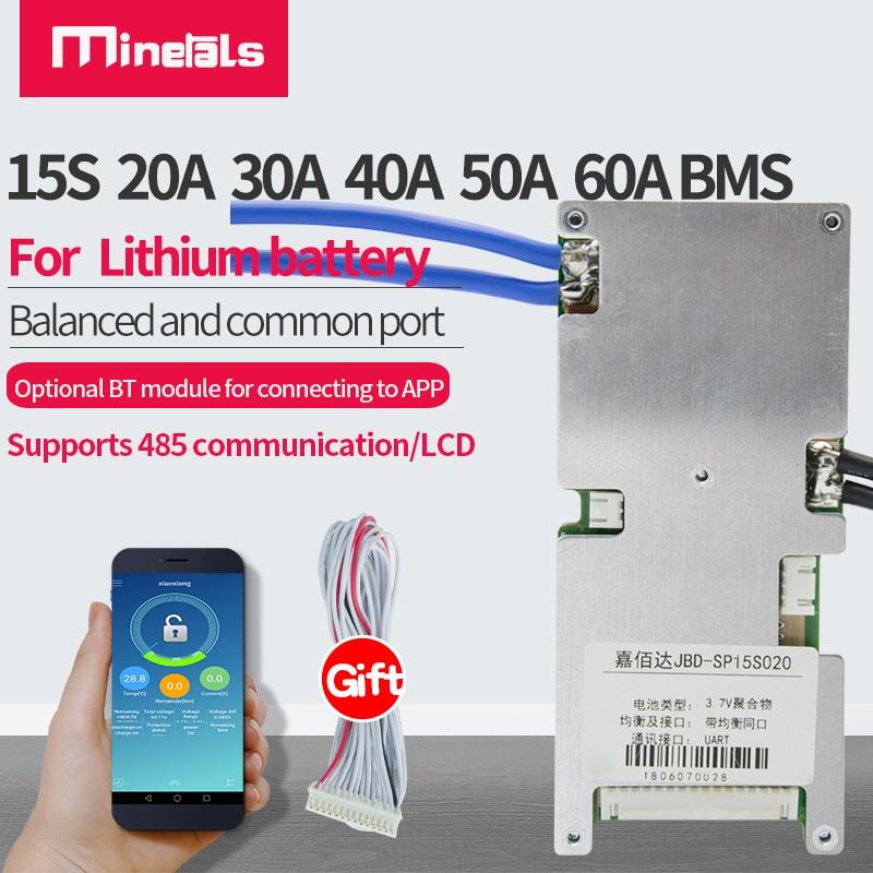 ذكي 15S دعم بلوتوث LiFePo4 BMS 48 فولت RS485/UART بوليمر منفذ مشترك مع لوح حماية متوازن 20A 30A 40A 60A PCM