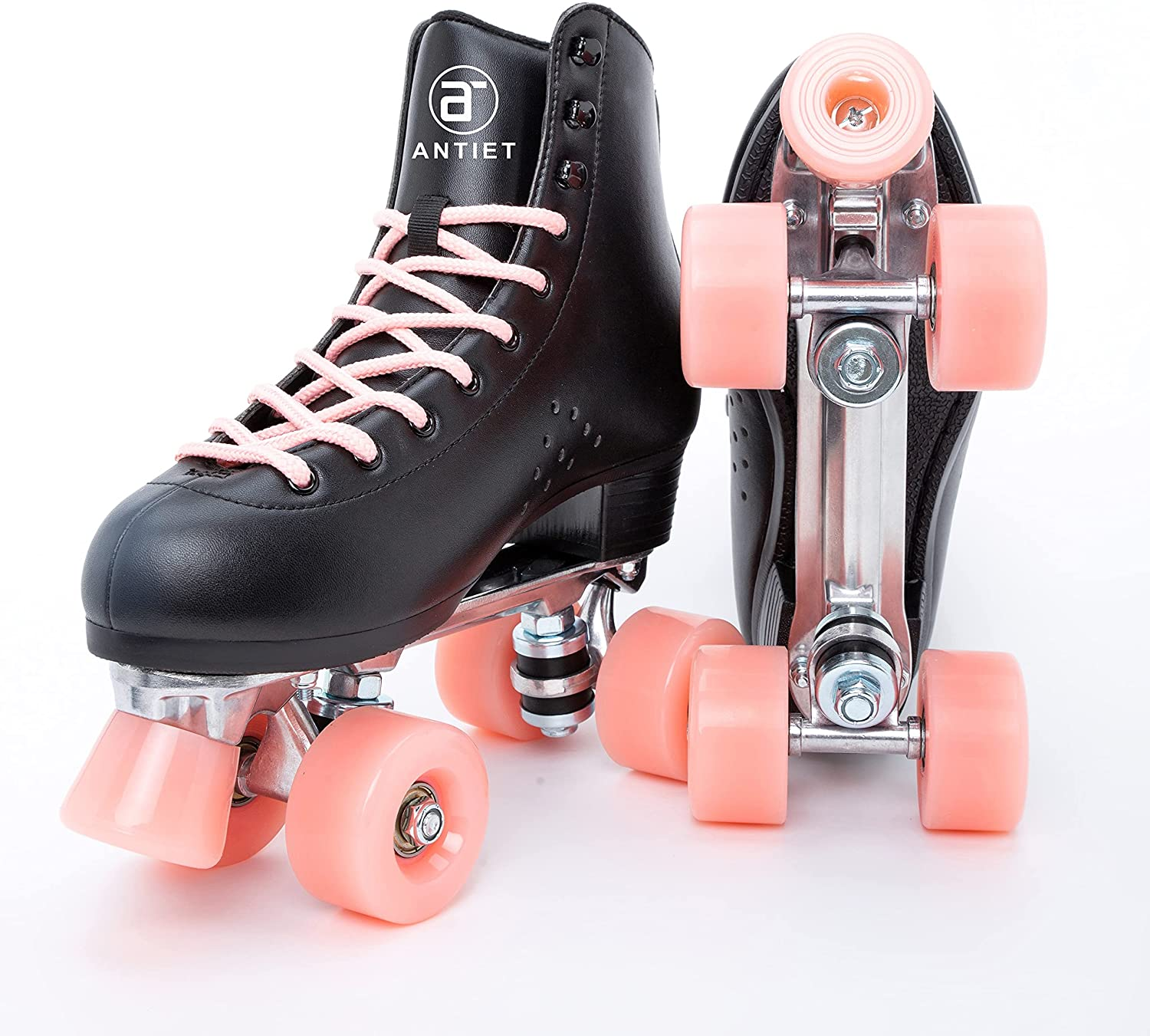 ANTIET Classic Roller Skates for Women Aluminum Alloy Base PU Leather Four Wheels Roller Derby Skates for Kids and Adults