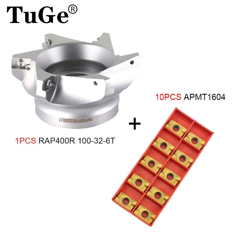 TuGe CNC الوجه الطحن القاطع رئيس RAP400R 50-22-4T الراب 400R 63-22-4T طحن أدوات رئيس 75 درجة مع 10 قطعة إدراج APMT1604