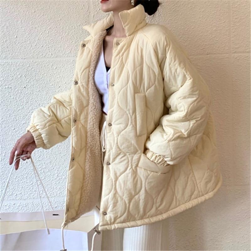 معطف نسائي قطني ، مقاس كبير ، جاكيت كوري فضفاض برباط ، جاكيت شتوي نسائي ، ملابس خارجية غير رسمية دافئة