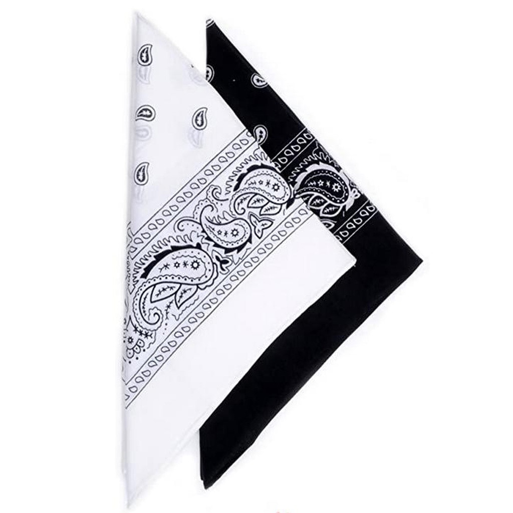 2pcship Hop Cotton Bandana Square Scarf 55cm*55cm Black Red Paisley Headband Printed For Women/men/boys/girls 2020 Fashion #BL4
