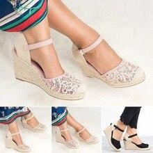 Platform Wedge Sandals Women Shoes 2019 Espadrille High Heels Bohemia Lace Wedding Shoes Ladie Sandals Plus Size 34-43 E746