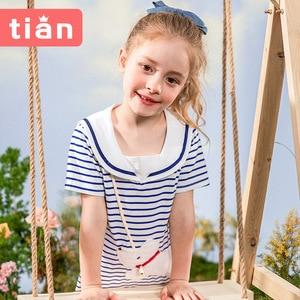 Girls' Navy Style Dress Children's Clothing Baby Summer 2021 New Children's Cotton Skirt Women's
