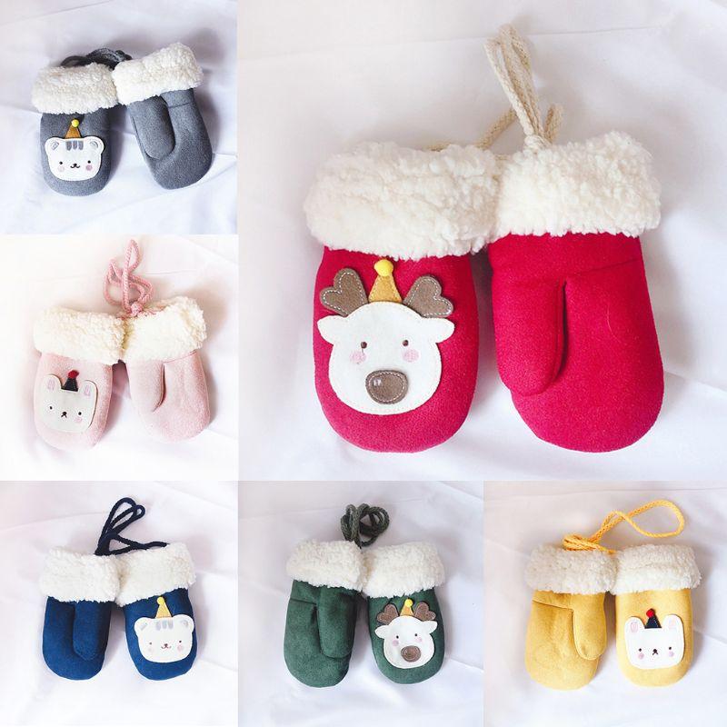 Crianças luvas recém-nascidos crianças inverno quente malha luvas unisex bonito dos desenhos animados urso pendurar pescoço luvas
