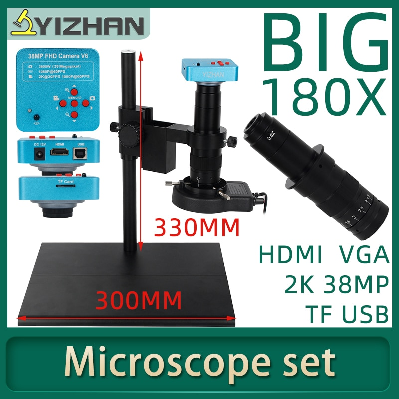 38MP USB VGA HDMI فيديو مجهر الصناعية كاميرا 1080P TF بحرية قابل للتعديل موقف نظام مسجل فيديو 180X عدسات تكبير ضوء
