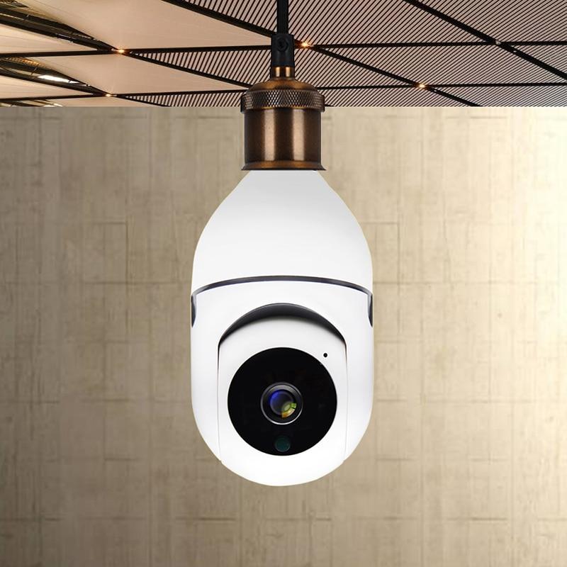 360 تدوير 1080P واي فاي السيارات تتبع بانورامية كاميرا ضوء لمبة لاسلكية PTZ كاميرا مراقبة أي بي عن بعد مشاهدة الأمن E27 لمبة واجهة