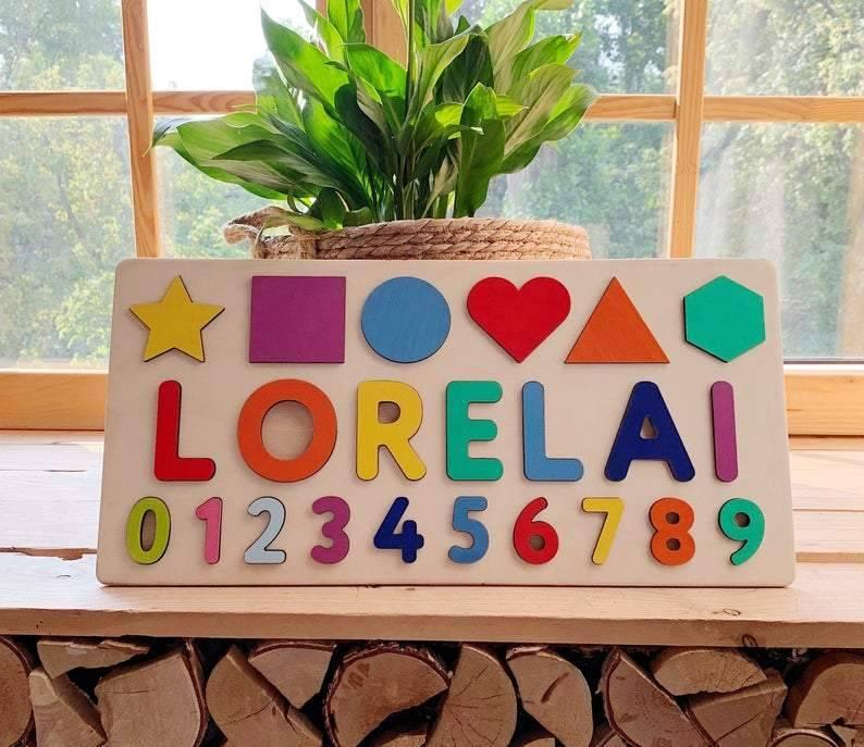 Пользовательские деревянные головоломки с цифрами, персонализированная Радуга деревянная образовательная деревянная головоломка, подаро...