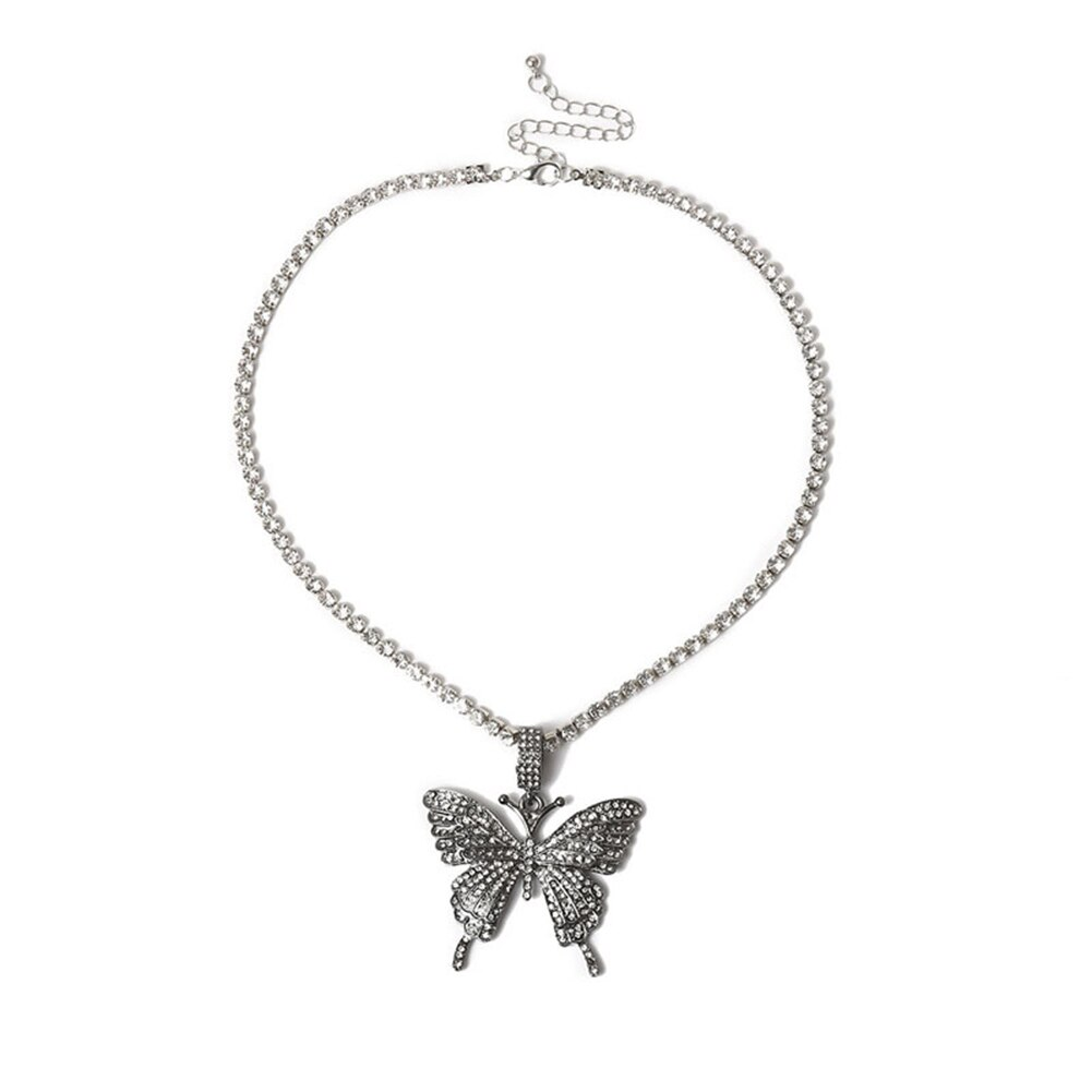 Moda feminina liga strass colar de cristal diamante borboleta pingente colar