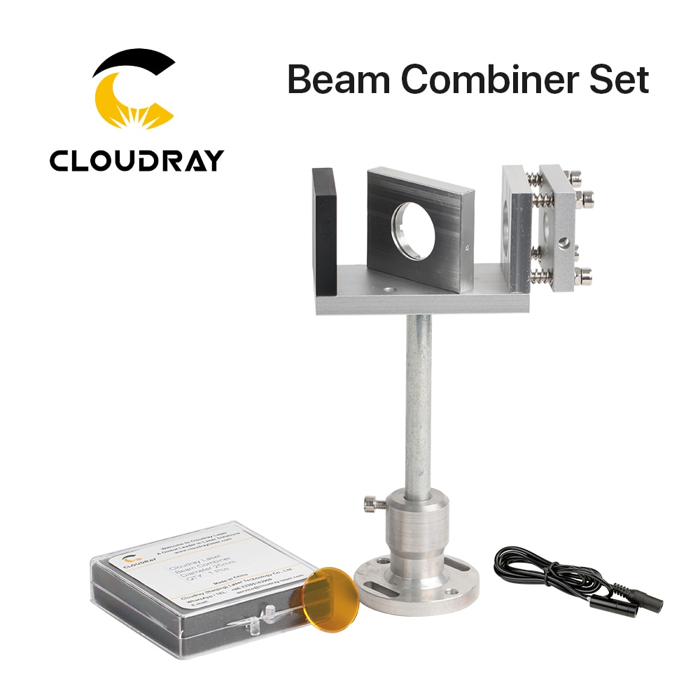 Cloudray Beam Combiner Set 20/25mm ZnSe Laser Beam Combiner + Mount + Laser Pointer for CO2 Laser Engraving Cutting Machine