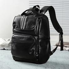 Backpack Leather Men Laptop Travel Backpack 15inch Waterproof Laptop Backpack USB College Bookbag Me