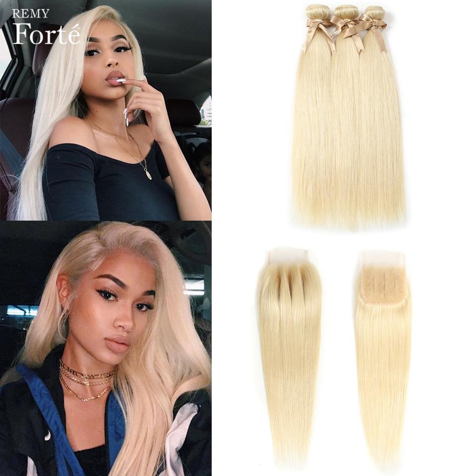Remy Forte 613 Bundles With Closure Brazilian Hair Weave Bundles Honey Blonde Straight Bundles With Closure Remy Hair Extension
