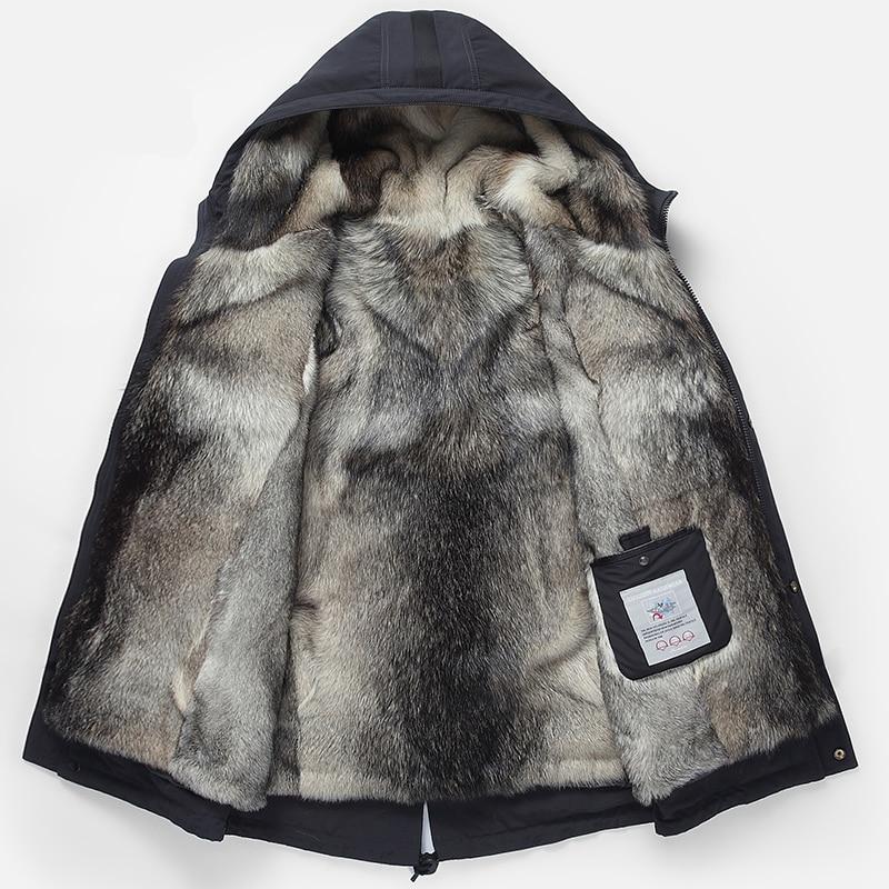 Wolf hair liner Winter Jacket Men Hooded fur one Warmer Parka Gray Detachable Genuine Leather grass Lining Men's Winter Coat