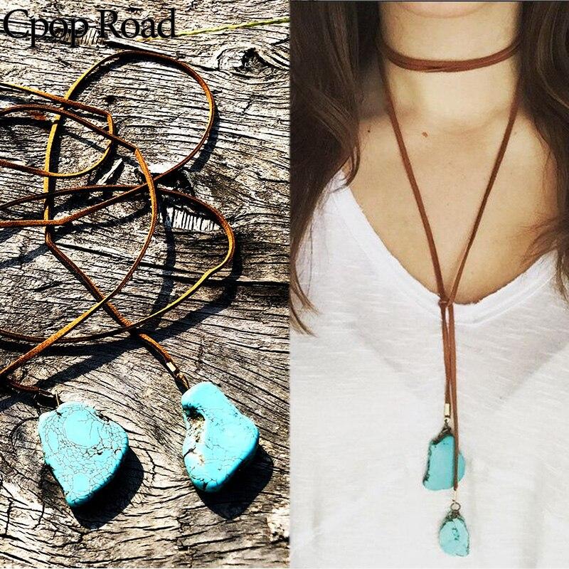 Cpop boho couro corda colar criativo pingente geométrico elegante colar feminino jóias acessórios venda quente presente