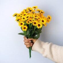13 Heads Autumn Decoration Yellow Sunflower Silk Artificial Flowers Bouquet For Home Decoration Office Party Garden Decor