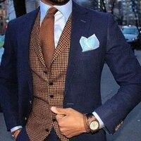 men suits vintage houndstooth vest 3 pieces tuxedos custom made plaid tweed vest groom groomsmen for wedding blazervestpant%ef%bc%89
