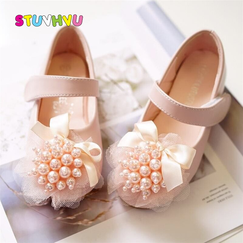 Brand Pu Leather Girls Princess Shoes Pearl Bow Children Casual Shoes Soft Bottom Comfortable Baby Toddler Kids Shoes for Girls afdswg pu kids shoes girls fashion soft bottom princess shoes new bow leather shoes childrens shoes little girl shoes