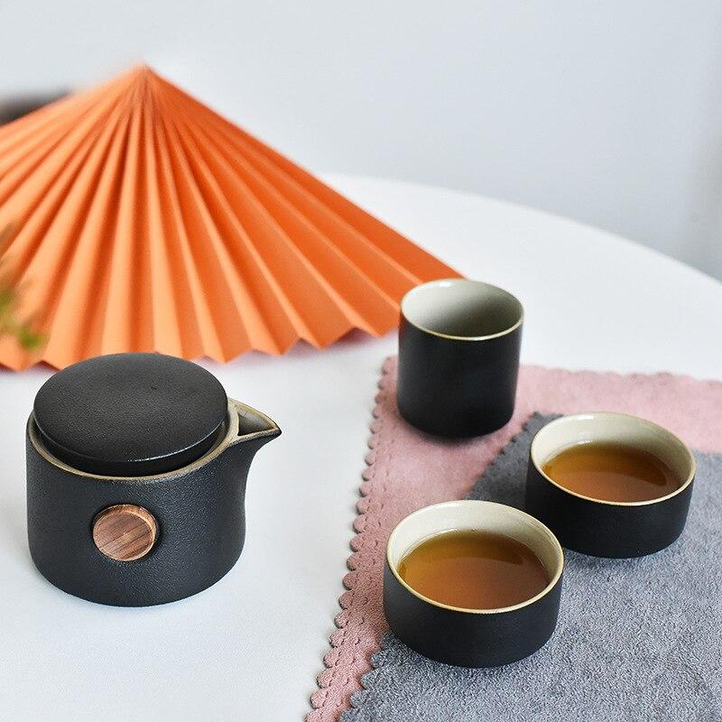 الرجعية السيراميك الأسود الفخار فنجان شاي مجموعة teبينة الشاي السفر Gongfu طقم شاي كوب براد شاي كوب مجموعة المحمولة هدية
