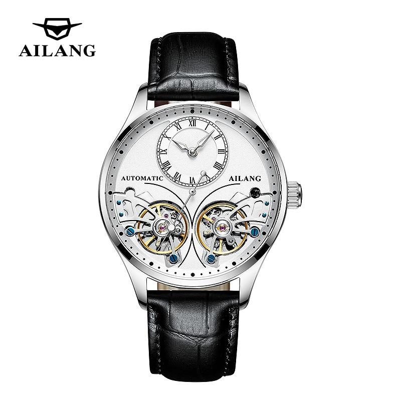 AILANG New Men Mechanical Watch Business Waterproof Luminous Chronograph Automatic Perspective Double Flywheel Hollow 204