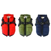 Pet Harness Coat Winter Cotton Jacket with Harness  Winter Skiing Costume Puppy Outdoor Skiing Walkin Chest Strap Dog Vest