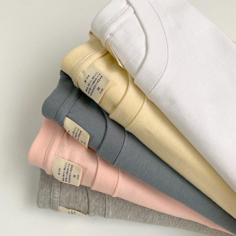 سميكة تي شيرتات قصيرة الاكمام الصيف الرجال والنساء مع نسخة فضفاضة إلى لون نقي تجعل الملابس العلوية غير المبطنة