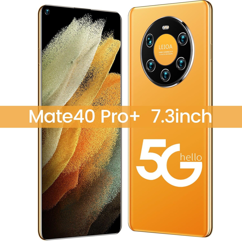 Mate40pro + 7.3 بوصة شاشة كبيرة 8 + 512gb 6800mah 16 + 32 ميجابكسل 10 النواة 3040*1440 سيم المزدوج بصمة تحديد 5g الهاتف المحمول