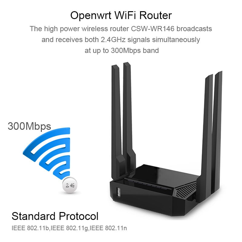 VPN Wifi Router 300Mbps With USB Port openWRT/keenetic Firmware 4 Ethernet Port Coverage 60 square Wireless Router Home