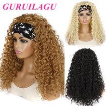 GURUILAGU Deep Wave Headband Wig Heat Resistant Fiber Synthetic Wig Black/613/4/27/99J Blonde Wig Synthetic Hair Wigs For Women