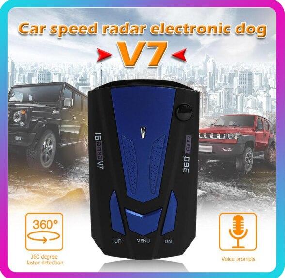 Автомобильный радар-детектор 360 градусов для транспорта V7 контроль скорости голосовое оповещение Предупреждение полосный светодиодный дисплей Английский Русский авто