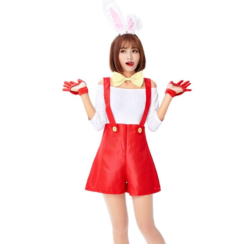 Mujer blanco Sexy lindo traje de Halloween Lencería disfraz Playmate Romper Cosplay disfraz de Halloween para mujer